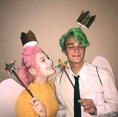 funny halloween costumes 14 Affordable & Cute DIY Halloween Costumes for Couples Cosmo & Wanda Couples Halloween Costume Idea Cute Couples Costumes, Cute Couple Halloween Costumes, Popular Halloween Costumes, Diy Costumes, Group Costumes, Funny Couple Costumes, Zombie Costumes, Woman Costumes, Halloween Diy