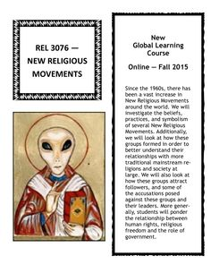 New Religious Movements - Fall 2015  New Global Learning Course