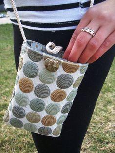 "Mini Purse Crossbody Pouch Reversible Mini Hip Pouch Cell Phone Purse - ""Petite Kravette"" - Spring Summer Fashion Bag"