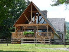 simple porch addition to A-frame house