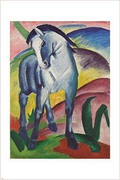 blue horse FRANZ MARC vintage painting ART POSTER graceful animal RARE 24X36