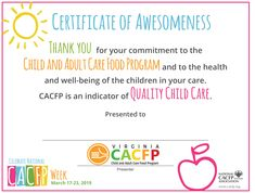 Food Program, Proper Nutrition, Eat Right, Eating Well, Childcare, How To Stay Healthy, Certificate, Virginia, Encouragement