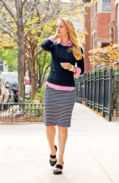 A pencil skirt is perfect for a preppy outfit! Plus Size Women's Leith High Side Slit Pencil Skirt Skirt Outfits Modest, Adrette Outfits, Cute Fall Outfits, Lula Roe Outfits, Spring Outfits, Fashion Outfits, Skirt Fashion, Preppy Skirt Outfits, Casual Pencil Skirt Outfits