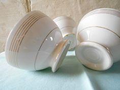 Set of 4 pretty French bowls French café au lait by Birdycoconut