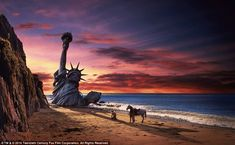 Concept: The Statue of Liberty casts a shadow on Taylor, played by Charlton Heston, in the iconic closing shot of Planet of the Apes, where Taylor realizes the apes have taken over Earth