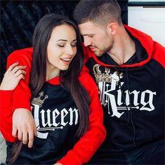 Matching Couple Hoodies - Red Black King Queen Hoodies-King-S Cute Couple Hoodies, Matching Hoodies For Couples, Matching Couple Outfits, Couple Shirts, Matching Clothes, Family Shirts, Black King And Queen, King Queen, Queen Crown