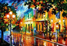 Night Flowers — Palette Knife Cityscape Wall Art Bright Oil Painting On Canvas By Leonid Afremov. Colorful Paintings, Seascape Paintings, Leonid Afremov Paintings, Acrylic Canvas, Oil Painting On Canvas, Canvas Art Prints, Painting Art, Oil Painting Texture, Oil Painting Flowers