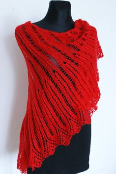 Red Hand Knitted Lace Shawl Triangular Shawl by AnazieArtDesign