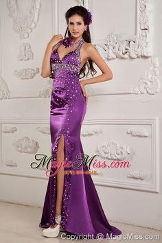 wholesale elegant eggplant purple evening dress mermaid halter satin beading brush train
