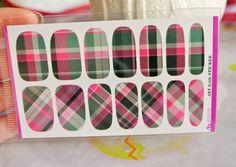 pink plaid nails water transfer nail wrap nail by GlamourFavor