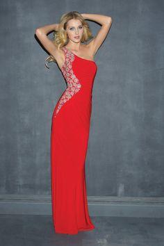 Stunning 2014 One Shoulder Sheath Column Red Chiffon Prom Dresses Beaded Ruffled Online Sale