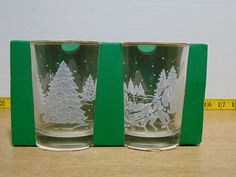 Avon 1999 President club Susan Kropf Christmas Winter Scene Horse & Sleigh Clear Glass 4 Mugs are in original box unused. Clear Glass, Wine Glass, Kropf, Dish Sets, Glass Collection, Winter Scenes, Seasonal Decor, Tumblers, Shot Glass