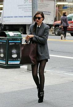 black tights//grey coat//oxblood purse
