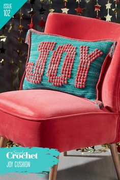 Use the uplifting message on Marianne Rawlins' bold cushion design to spread some cheer. You fan find this pattern and more in Issue 102 of Simply Crochet! Simply Crochet, Uplifting Messages, Crochet Cushions, Wingback Chair, Love Seat, Accent Chairs, Cheer, Joy, Pattern