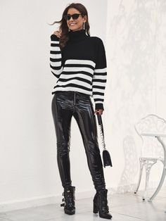 Black And White Stripe Turtleneck Jumper , Striped Turtleneck, Classic Halloween Costumes, Black Stripes, Turtle Neck, Punk, Black And White, Style, Fashion, Moda