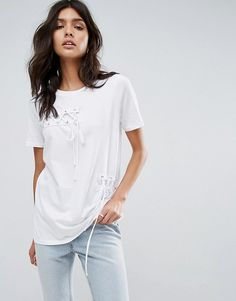 River Island Lace Up Detail T-Shirt