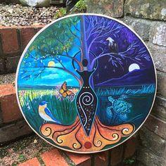 Shaman Drum Goddess of the Elements. Unalome, Moon Goddess, Goddess Tattoo, Goddess Art, Willow Wood, Power Animal, Greatest Mysteries, Sound Healing, Using Acrylic Paint