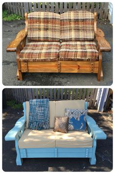 Wooden couch makeover; taken from a neighbor's curb and transformed with milk paint and new cushion covers.