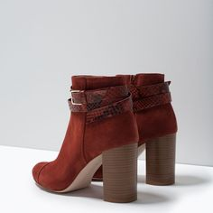 Red boots with heel   ZARA