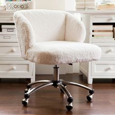 White fur swivel desk chair. So chic, practical and comfy!