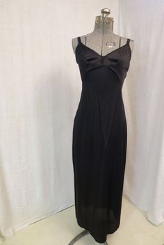 Vintage Maxi Black Slip XS 32 in Size Olga Brand Lingerie 1980's Nylon Knit Fabric Lace Accents Bottom Slit USA Made Undergarment Nightie by BonniesVintageAttic on Etsy