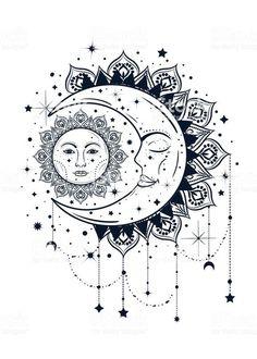 Mandala Art, Mandala Tattoo Design, Moon Tattoo Designs, Mandala Drawing, Mandala Sun Tattoo, Celestial Tattoo, Moon Sun Tattoo, Sun Tattoos, Body Art Tattoos