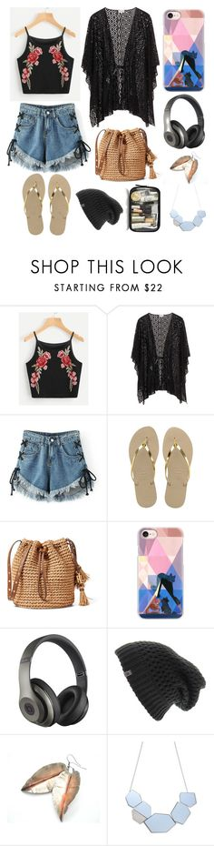 """""""On the beach"""" by explorer-15044880599 ❤ liked on Polyvore featuring WithChic, Havaianas, Casetify, Beats by Dr. Dre and The North Face"""