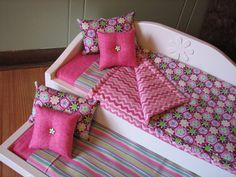 "Daybed/trundle Set For American Girl / 18"" Doll - Bedding In Pink Medallion With…"