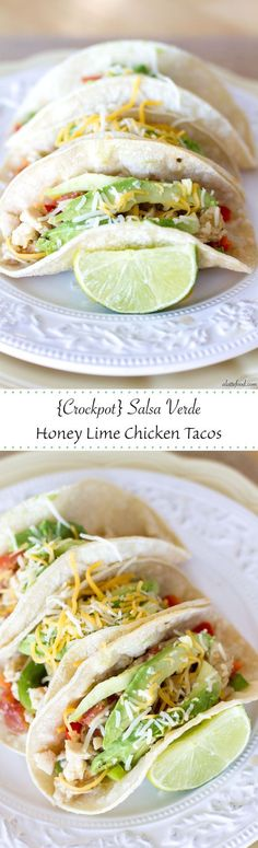 {Crockpot} Salsa Verde Honey Lime Chicken Tacos | An easy dinner recipe that tastes great!