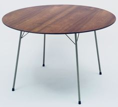 Table Arne Jacobsen (Danish, 1902–1971)  c.1952. Wood top, enameled metal legs, and rubber feet, 27 3/4 x 47 1/2 (70.5 x 120.6 cm). Manufactured by Fritz Hansen. Gift of Richards Morgenthau Co.