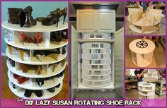 Shoe Rack and Shoe… Shoe Storage Display, Corner Storage, Best Shoe Rack, Diy Shoe Rack, Rotating Shoe Rack, Diy Lazy Susan, Crate Bookshelf, Pantry Makeover, Rack Design