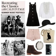 """""""calivintage Recreates the Classics: Summer Music Festivals""""  Summer music festivals may be having a moment, but their origins span back to the 1960s when gatherings like the Newport Folk Fest and Woodstock Festival rocked the nation. So what better place to look for style inspiration than vintage photos of musicians?  When I came across this snapshot of folk singer Joan Baez and her sisters Pauline and Mimi, I knew that I had to recreate their look. Their folksy vibes and easy spirit evoke…"""