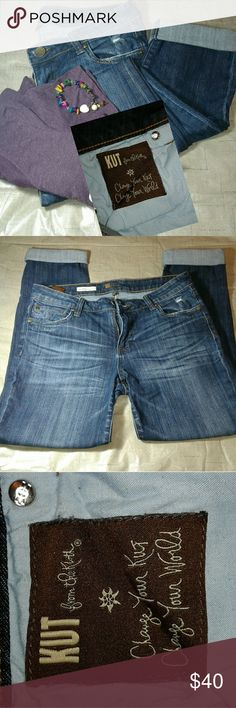 *KUT from the Kloth*  CATHERINE Boyfriend Jeans In excellent condition / TL CUT#104726 / STYLE#KP494M09N / 98% Cotton and 2% Spandex /30 inch Inseam and 39 inches from waist to ankle,  32 waist /  Jeans do have a great stretch and would probably fit a size 11 for a more skinny fit... Kut from the Kloth Pants