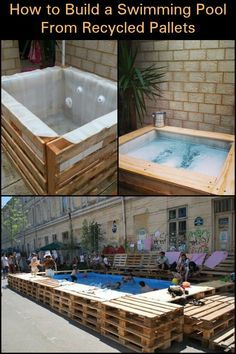 Enjoy Summer in Your Own Yard by Building a Swimming Pool with Recycled Pallets! - Enjoy Summer in Your Own Yard by Building a Swimming Pool with Recycled Pallets! Oberirdischer Pool, Diy Swimming Pool, Building A Swimming Pool, Diy Pool, Pallet Pool, Pallet House, Pallet Bar, Piscina Pallet, Piscine Diy