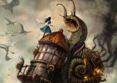 Arte conceitual dá uma prévia do clima no game baseado em 'Alice no país das maravilhas'. Jogo será lançado para PC, Xbox 360 e PlayStation 3  (Foto: Divulgação)