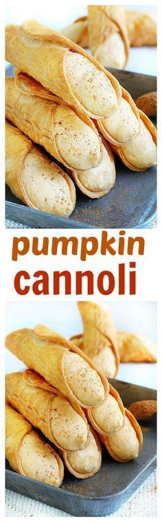 Filled with a lightly spiced sweet pumpkin ricotta filling, the classic Italian . Filled with a lightly spiced sweet pumpkin ricotta filling, the classic Italian …- Filled wit Pumpkin Cannoli Recipe, Pumpkin Recipes, Fall Recipes, Holiday Recipes, Simple Recipes, Summer Recipes, Italian Desserts, Köstliche Desserts, Italian Pastries