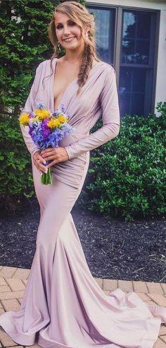 3f1a3b84c46 Lilac Long Sleeve V-neck Mermaid Bridesmaid Dresses