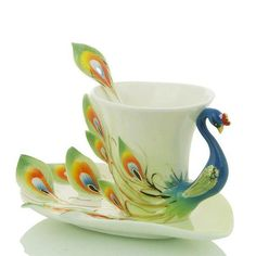 Gorgeous peacock cup and saucer!