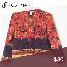 Shirt Jacket Multicolored 97% Cotton 3% Spandex B-38 Sleeve-22 L-20 Coldwater Creek Jackets & Coats Blazers