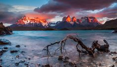 Burning towers Kuernos - Pinned by Mak Khalaf Landscapes ChileDawnPatagoniaPehoeTorres del Painecloudslakelightpanoramareflectionskystormsun by Anton_Petrus