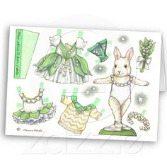 Birthday Lily of the Valley Paper Doll Card from Zazzle.com ❤❦♪♫