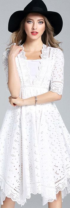 White V Neck Hollow-out Two-piece Dress