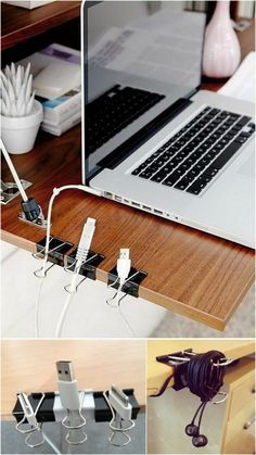 Dorm Room Hacks and Tips - Get creative! Organize a desk and cods with paper and binder clips. More College Tips on Frugal Coupon Living.