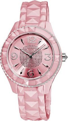Akribos XXIV Women's AK533PK Ceramic Pyramid Cutting Stones Watch Akribos XXIV. $177.45. Glossy pink dial with silver-tone hour markers. Pink ceramic pyramid cut bracelet. Water-resistant to 10 M (33 feet). Precise Swiss quartz movement. Center of the dial is adorned with crystals. Pink ceramic case with a stainless steel bezel. Save 79%!