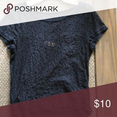Lace t-shirt Navy blue lace t-shirt size small, hollister Hollister Tops Tees - Short Sleeve