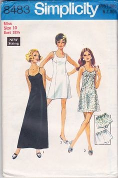 34543c9899 1970s Simplicity 8483 Womens Slip and Bloomers Panties Vintage Sewing  Pattern Size 10 Bust 32 1