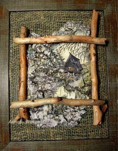 (1) Gallery.ru / Фото #31 - на бересте - ninmix Tree Bark Crafts, Birch Bark Crafts, Driftwood Projects, Driftwood Art, Crafts To Do, Wood Crafts, Moss Wall Art, Christmas Flower Arrangements, Natural Home Decor