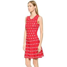 Pre-owned Bcbgmaxazria Red Jo Size S Nwt Dress ($165) ❤ liked on Polyvore featuring dresses, red, red sleeveless dress, polka dot circle skirt, red skater skirt, red circle skirt and dot dress