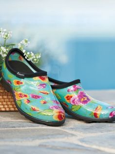 Sloggers- waterproof garden clogs, shoes for women | Solutions.  I ordered these from Amazon with a gift card.  What wonderful garden shoes!!  Heavy but comfortable.  Make in the USA