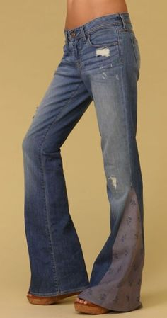 Turn your regular jeans into hippy bell bottoms! Love this!